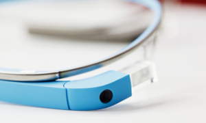 Closeup of Google Glass camera and screen